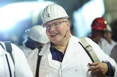 Germany's new Environment Minister Peter Altmaier walks through a tunnel during a visit to the disused mine in Remlingen June 1, 2012, which is used to store nuclear waste. REUTERS/Julian Stratenschulte/Pool