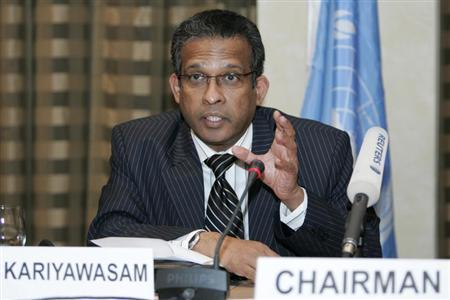 Prasad Kariyawasam speaks to the media during a news conference in Amman July 1, 2008. REUTERS/Muhammad Hamed