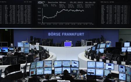 The German share price index DAX board is pictured at the German stock exchange in Frankfurt February 25, 2013. REUTERS/Lisi Niesner (GERMANY - Tags: BUSINESS) - RTR3EA49