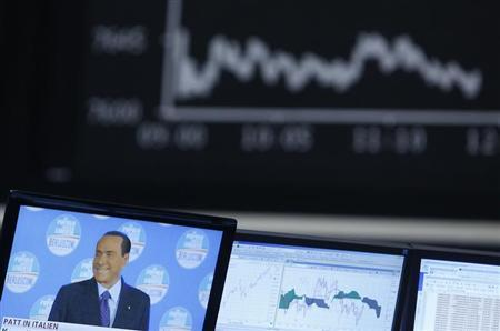 A TV screen showing news on Italy's former Prime Minister Silvio Berlusconi is pictured in front of the German share price index DAX board at the German stock exchange in Frankfurt February 26, 2013. REUTERS/Lisi Niesner (GERMANY - Tags: BUSINESS POLITICS) - RTR3EAWA