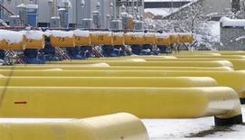 Трубы на газовой компрессорной станции в городе Боярка под Киевом 19 декабря 2012 года. Украина, стремящаяся снизить зависимость от дорогого российского газа, планирует в 2013 году импортировать из Европы около семи миллиардов кубометров топлива по сравнению с первыми 57 миллионами, полученными в 2012 году, сказал представитель основного импортера, госкомпании Нафтогаз. REUTERS/Anatolii Stepanov