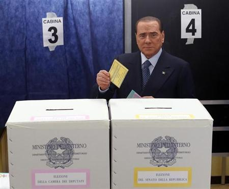 Former Prime Minister Silvio Berlusconi casts his vote at a polling station in Milan February 24, 2013. Italians began voting on Sunday in one of the most closely watched elections in years, with markets nervous about whether it can produce a strong government to pull Italy out of recession and help resolve the euro zone debt crisis. REUTERS/Stefano Rellandini (ITALY - Tags: POLITICS ELECTIONS BUSINESS) - RTR3E79V