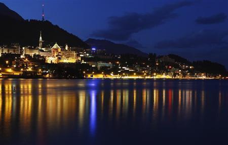 A night view shows the Swiss mountain resort of St. Moritz August 21, 2012. REUTERS/Christian Hartmann