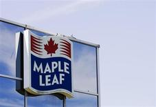 A sign for the Maple Leaf food processing plant is seen in Toronto August 21, 2008. REUTERS/Mark Blinch