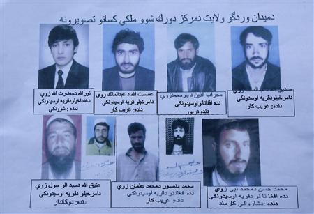 An undated handout photo shows nine men including a shopkeeper, a teacher, a driver and a local government employee, who presidential adviser and former member of parliament Shuja-ul-Mulk Jalala said, based on the testimony of people in the area, were detained at a military outpost in Wardak by U.S. special forces and Afghans identified as translators. REUTERS/Handout