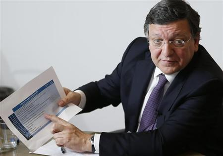 European Union Commission President Jose Manuel Barroso gestures as he answers questions during the Reuters Future of the Euro Zone Summit in Brussels February 26, 2013. REUTERS/Francois Lenoir