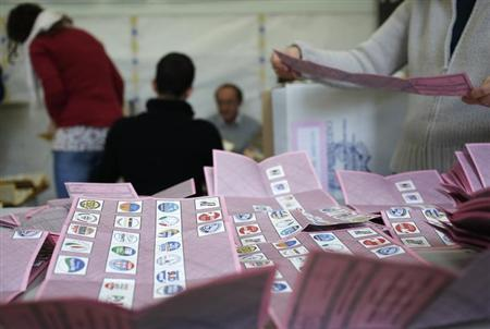 Voting officials count the ballots in a polling station in Rome February 25, 2013. REUTERS/Yara Nardi