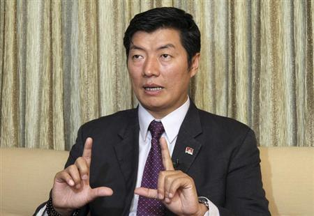 Lobsang Sangay, Prime Minister of the Tibetan government-in-exile, speaks during an interview in New Delhi February 16, 2012. REUTERS/B Mathur/Files