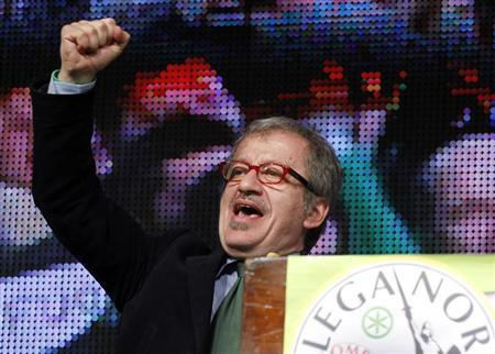 Italy's Northern League member Roberto Maroni addresses the audience during the Northern League rally in Bergamo April 10, 2012. REUTERS/Alessandro Garofalo