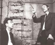 Francis Crick (R) with James D. Watson, co-discoverers of the structure and function of DNA, are shown in this image taken circa 1953 in this image released to Reuters on February 26, 2013. REUTERS/Christie's Images LTD. 2013/Handout