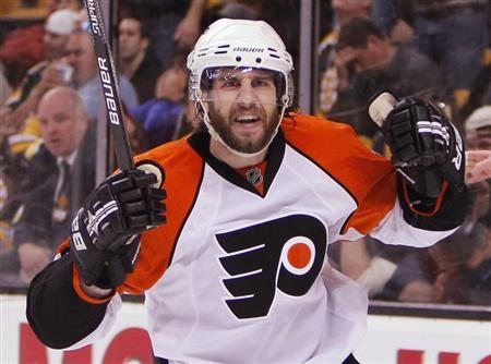 Philadelphia Flyers Simon Gagne celebrates the game-winning goal on the Boston Bruins during the third period in Game 7 of their NHL Eastern Conference semi-final hockey game in Boston, in this file photo taken Massachusetts May 14, 2010. REUTERS/Adam Hunger
