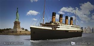 An undated artist's rendering of the proposed cruise ship Titanic II, provided by the Blue Star Line as Australian billionaire Clive Palmer unveiled plans for his dream ship during a news conference in New York February 26, 2013. The cruise ship will be built by the CSC Jingling Shipyard in China, and will sail from Southhampton, England to New York on her maiden voyage in late 2016, according to Palmer. REUTERS/Blue Star Line/Handout