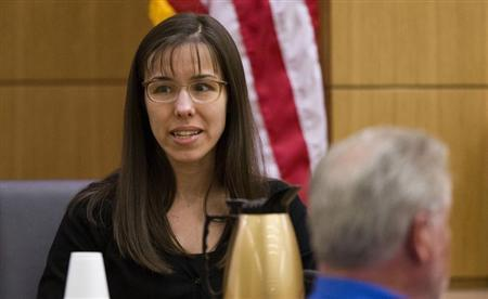 Jodi Arias testifies during cross examination by prosecutor Juan Martinez in Maricopa County Superior Court in Phoenix, Arizona, February 25, 2013. REUTERS/Tom Tingle/The Arizona Republic/Pool