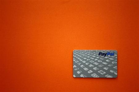 A PayPal card is shown as customers can now pay with the card at selected Home Depot stores such as the one in Daly City, California, February 21, 2012. REUTERS/Beck Diefenbach/Files