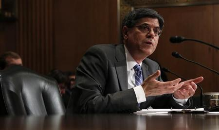 Jack Lew, President Barack Obama's nominee to lead the U.S. Treasury Department, testifies before the Senate Finance Committee on Capitol Hill in Washington February 13, 2013. REUTERS/Kevin Lamarque