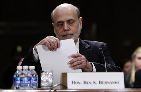 Federal Reserve Board Chairman Ben Bernanke appears before a Senate Banking, Housing and Urban Affairs Committee hearing on ''The Semiannual Monetary Policy Report to the Congress.'' in Washington February 26, 2013. REUTERS/Jason Reed