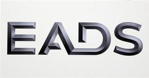 Logo of EADS is seen at the European aerospace and defence group EADS headquarters in Les Mureaux near Paris January 12, 2011. REUTERS/Charles Platiau (FRANCE - Tags: TRANSPORT BUSINESS MILITARY) - RTXWHBN