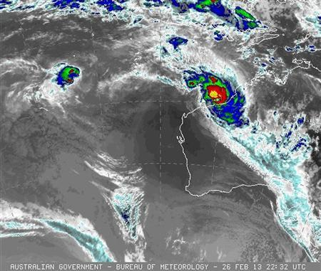 In this false-colour infrared satellite image originally processed by the Australian Bureau of Meteorology from the geostationary satellite MTSAT operated by the Japan Meteorological Agency, the severe tropical cyclone ''Rusty'' is seen near the Pilbara region in western Australia at 2232 GMT on February 26, 2013. REUTERS/Japan Meteorological Agency satellite MTSAT via Australian Bureau of Meteorology/Handout