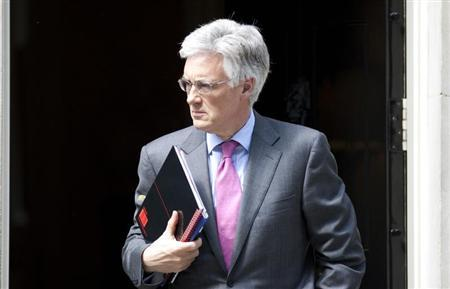 The chairman of the Financial Services Authority, Adair Turner, leaves Downing Street in central London May 28, 2012. REUTERS/Neil Hall