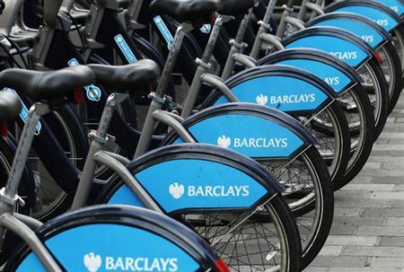 Bicylces for hire, sponsored by Barclays, are lined up in a rack in London February 6, 2013. REUTERS/Luke MacGregor