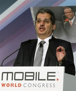 Qtel Group CEO Nasser Marafih gestures during a news conference at the Mobile World Congress in Barcelona, February 26, 2013. REUTERS/Albert Gea