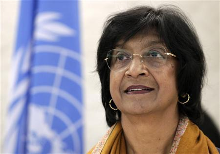 U.N. High Commissioner for Human Rights Navi Pillay looks on before the 22nd session of the Human Rights Council at the United Nations in Geneva February 25, 2013. REUTERS/Denis Balibouse (SWITZERLAND - Tags: POLITICS HEADSHOT) - RTR3E9O5