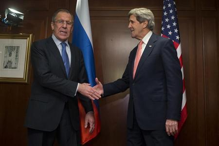 U.S. Secretary of State John Kerry (R) meets Russian Foreign Minister Sergei Lavrov in Berlin February 26, 2013. REUTERS/Thomas Peter