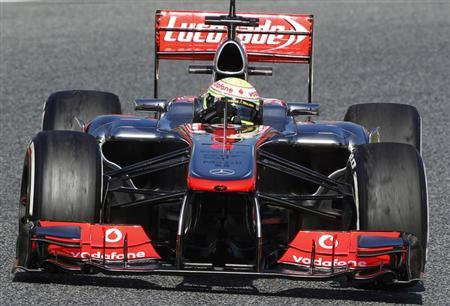 McLaren's Formula One driver Sergio Perez of Mexico drives during a training session at Circuit de Catalunya racetrack in Montmelo, near Barcelona, February 20, 2013. REUTERS/Albert Gea