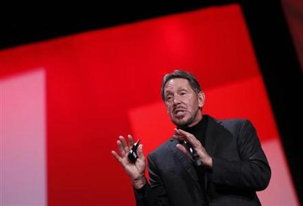 Oracle Chief Executive Larry Ellison delivers his keynote address at Oracle Open World in San Francisco, California September 30, 2012. REUTERS/Robert Galbraith/Files