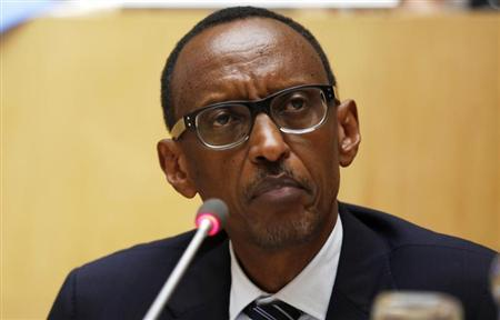 Rwanda's President Paul Kagame attends the signing ceremony of the Peace, Security and Cooperation Framework for the Democratic Republic of Congo and the Great Lakes, at the African Union headquarters in Ethiopia's capital Addis Ababa Feburary 24, 2013. REUTERS/Tiksa Negeri