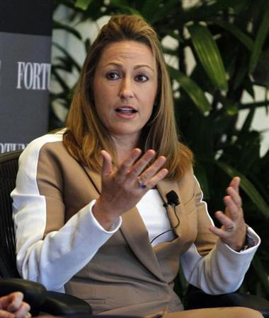 Heather Bresch, chief executive of Mylan, Inc., speaks during a session at Fortune's Most Powerful Women Summit in Laguna Niguel, California October 2, 2012. REUTERS/Alex Gallardo
