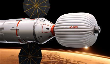 An artist's rendition shows a Mars capsule which will carry two people to Mars and back in this image released by Inspiration Mars Foundation on February 27, 2013. REUTERS/Inspiration Mars Foundation/Handout