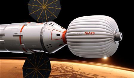 2月27日、世界初の宇宙旅行者デニス・チトー氏が設立した非営利団体が、501日間の火星往復ミッションの計画を明らかにした。宇宙船のイメージ図。同団体提供(2013年 ロイター/Inspiration Mars Foundation)