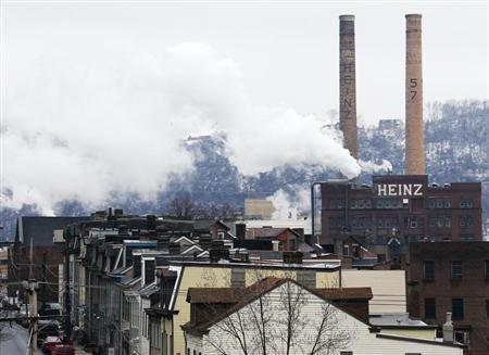 The former Heinz factory, now home to loft apartments, looks over Pittsburgh Pennsylvania's North Side February 14, 2013. REUTERS/Jason Cohn