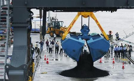 A crane unloads coal from a ship during the inauguration ceremony of Adani Cargo Port at Dahej in Gujarat August 30, 2010. REUTERS/Amit Dave/Files