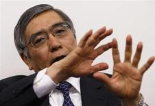 Asian Development Bank President Haruhiko Kuroda speaks during a group interview in Tokyo in this February 11, 2013 file photo. The Japanese government has nominated Kuroda to be the next governor of the Bank of Japan, a lawmaker said on February 28, 2013. REUTERS/Toru Hanai/Files