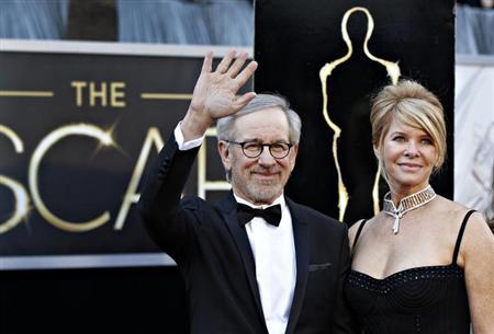 Steven Spielberg, best director nominee for his film ''Lincoln'', and his wife Kate Capshaw arrive at the 85th Academy Awards in Hollywood, California February 24, 2013. REUTERS/Lucas Jackson