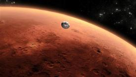 Una fundación sin ánimo de lucro quiere reclutar a un hombre y a una mujer - posiblemente una pareja casada - para un viaje de 501 días de ida y vuelta a Marte que comenzaría en menos de cinco años, dijeron los organizadores del proyecto. En la imagen, un diseño de un artista sobre la nave de la NASA Mars Science llegando a Marte. REUTERS/ NASA/JPL-Caltech/Handout