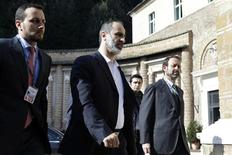 Syrian National Coalition head Moaz al-Khatib (2nd L) arrives for meetings at Villa Madama in Rome February 28, 2013. REUTERS/Jacquelyn Martin/Pool