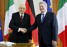 Italy's President Giorgio Napolitano (L) is welcomed by his German counterpart Joachim Gauck upon his arrival at Bellevue palace in Berlin February 28, 2013. REUTERS/Fabrizio Bensch (GERMANY - Tags: POLITICS) - RTR3EDTA