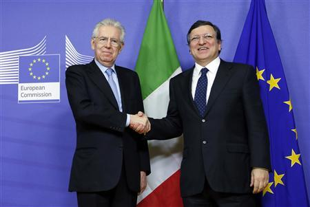 European Commission President Jose Manuel Barroso shakes hands with Italian Prime Minister Mario Monti (L) ahead of a meeting at the EU Commission headquarters in Brussels February 27, 2013. REUTERS/Francois Lenoir (BELGIUM - Tags: POLITICS)