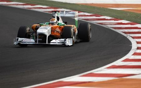 Force India Formula One driver Adrian Sutil of Germany drives during the qualifying session for the Indian F1 Grand Prix at the Buddh International Circuit in Greater Noida on the outskirts of New Delhi October 29, 2011. REUTERS/Vivek Prakash
