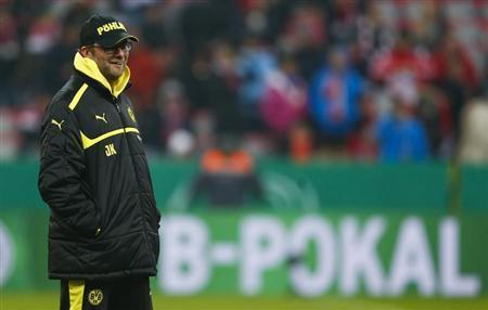 Borussia Dortmund coach Juergen Klopp is seen before his team's German soccer cup, DFB Pokal, quarter final match against Bayern Munich in Munich February 27, 2013. REUTERS/Michael Dalder