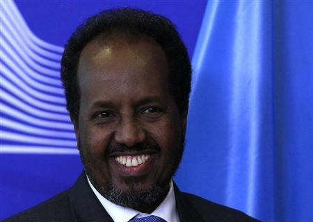 Somalia's President Hassan Sheikh Mohamud arrives at the European Commission headquarters in Brussels January 30, 2013. REUTERS/Yves Herman