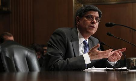 Jack Lew, President Barack Obama's nominee to lead the U.S. Treasury Department, testifies before the Senate Finance Committee on Capitol Hill in Washington February 13, 2013. REUTERS/Kevin Lamarque (UNITED STATES - Tags: POLITICS BUSINESS) - RTR3DQTB