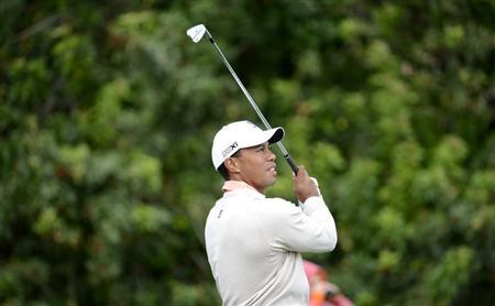Tiger Woods of the U.S. hits the ball at the 16th tee during first round play in the Honda Classic PGA golf tournament in Palm Beach Gardens, Florida February 28, 2013. REUTERS/Doug Murray