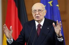REFILE - REMOVING WORD AT THE END OF SECOND SENTENCE Italy's President Giorgio Napolitano gestures during a news conference following talks with German counterpart Joachim Gauck in Berlin February 28, 2013. Italian President Giorgio Napolitano said on Thursday that the formation of a new government could not be rushed because of what he said were unfounded fears that Italy was a threat to the stability of Europe. REUTERS/Fabrizio Bensch