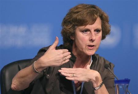 EU commissioner for Climate Action Connie Hedegaard speaks during the United Nations Climate Change (COP18) Conference in Doha December 3,2012. REUTERS/Fadi Al-Assaad
