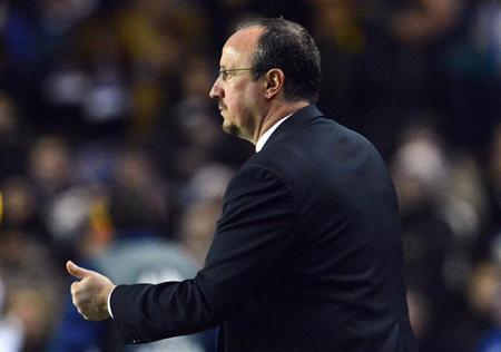 Chelsea's manager Rafael Benitez gestures during their Europa League soccer match against Sparta Prague at Stamford Bridge in London February 21, 2013. REUTERS/Toby Melville
