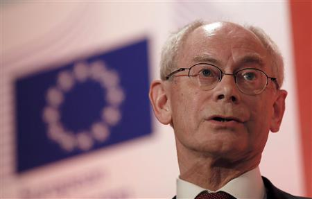 European Council President Herman Van Rompuy speaks during a conference entitled ''Prospects for Revival in the euro zone – and what place for Britain in Europe'', in London February 28, 2013. REUTERS/Stefan Wermuth